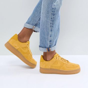 Nike Air Force 1 Mustard Suede Trainers With Gum Sole at asos.com