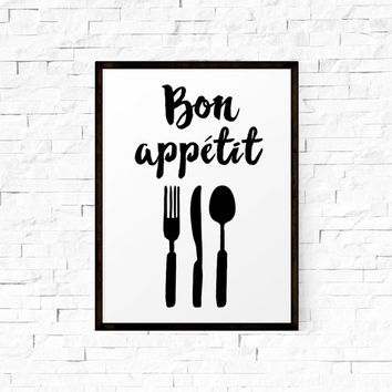 Typography Quote, Bon Appétit, Printable Quotes, Printable Wall Art, Typography, Black And White, Home Decor, Affiche Scandinave