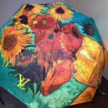 LV Louis Vuitton Stylish Oil Painting Sunflower Pattern Classic Umbrella Sunshade Folding Sunshade Automatically I12434-7