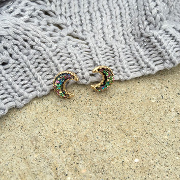 Crescent Peacock Druzy Stud Earrings