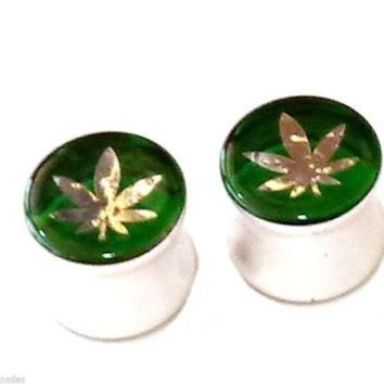 PAIR-Hologram Weed Pot Leaf Acrylic Double Flare Plugs 08mm/0 Gauge Body Jewelry