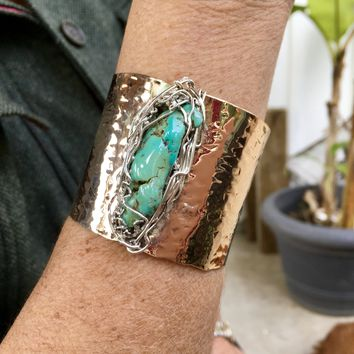 "Turquoise Bronze Cuff  ""one of a kind"""
