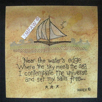 "Primitive Folk Art Print- ""NEAR the WATER'S EDGE""---Copyright Lithograph Print & Verse of Original Stitchery"