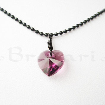 Swarovski Crystal Pendant - Amethyst Authentic Swarovski Heart Wired  Wrapped and Black Necklace 71b0bd76ff