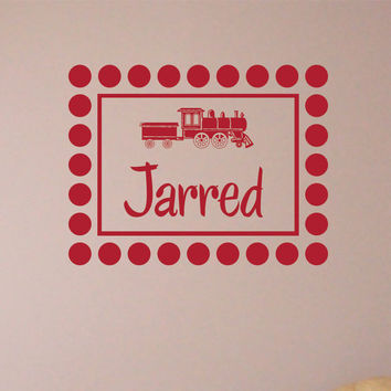 Wall Decal Dots Around a Frame Personalized Monogram Train with Childs Name 2 Nursery Wall Decor