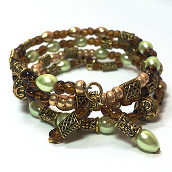 Bohemian Brown & Green Memory Wire Bracelet - Green and Brown Wrap Bracelet -  BOHO- Wraparound Bracelet  - Global Boho TDC 058