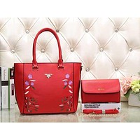 Perfect Prada Women Fashion Flower Embroidery Leather Satchel Handbag Shoulder Bag Crossbody Set Two-Piece
