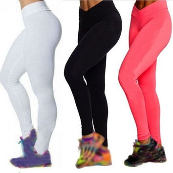 2014 High Waist Slim Tight YOGA Tights Leggings Fitness Sport Pants 5 Colors WXF = 1932467140