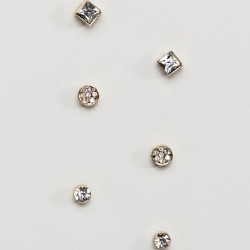 Burton Menswear crystal stud earrings in gold 3 pack at asos.com