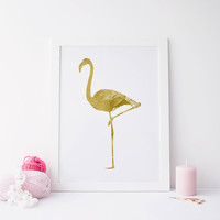 PRINTABLE art Gold FLAMINGO PRINT,Printable art,Gold Flamingo art,Flamingo,Poster,Animal Gold print,Art decor,Instant Download,Gossip Girl