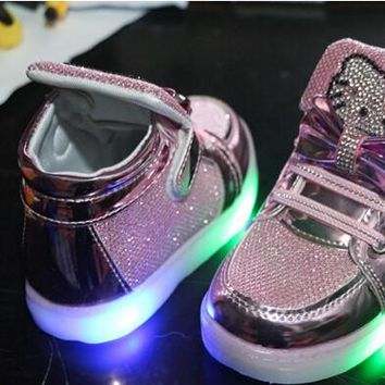 Children Shoes 2016 New Spring Hello Kitty Rhinestone Led Shoes Girls Princess Cute Sh