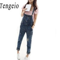 Tengeio Denim Overalls Women Romper Salopette Jeans Women Pants Halter Long Blue Rompers Denim Jumpsuit Playsuits With Pocket