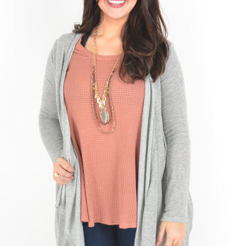 Heather Grey Knit Cardigan with Crochet Back Detail