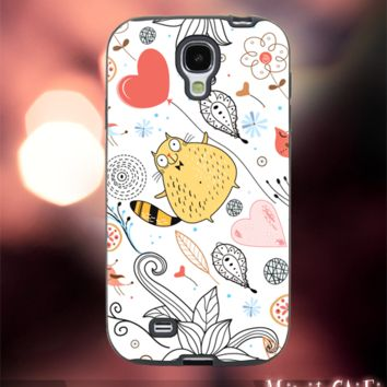 MC42Z,16,cat,Flower,Floral,pattern,cute-Accessories case cellphone- Design for Samsung Galaxy S5 - Black case - Material Soft Rubber