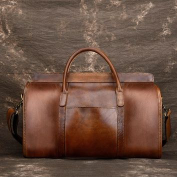Luxury Vintage Natural Genuine Leather Men's Travel Bags Crossbody  Luggage Travel Bag