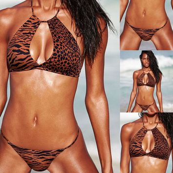 GLANE Brief 2017 New Hot Sexy Women's Leopard Print Swimsuit Bikini Set Push up Padded Bra Swimwear Beach Beachwear Summer USA