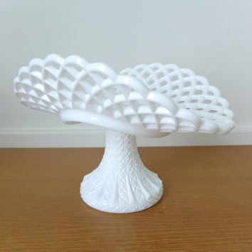 Large lattice edge or lace edge milk glass banana stand