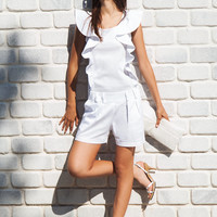 White romper / ruffle overall / cotton jumpsuit / summer romper / ruffle jumpsuit / satin romper / casual jumpsuit / short romper