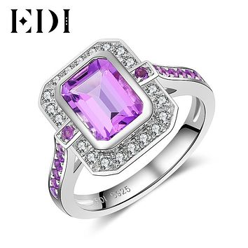 EDI 1.75 Natural Amethyst 925 Sterling Silver Anniversary Ring Statement Rings Crystal Fine Jewelry For Women