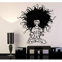 Vinyl Wall Decal Meditation Yoga Girl Woman Lotus Pose Chakra Stickers Unique Gift (1208ig)