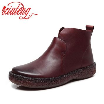 Xiuteng 2019 New Cow Leather Women's Shoes Fashion Casual Round Top Genuine Leather Flat Shoes Women's Handmade Ankle Boots