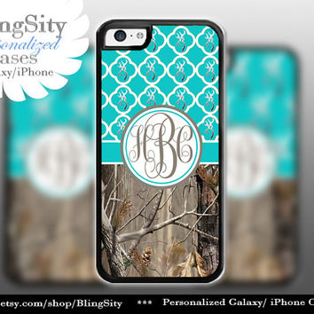 Monogram Iphone 5C case Browning Aqua Teal Quatrefoil Quilted iPhone 5s iPhone 4 case Ipod 4 5 Real Tree Camo Deer Personalized Country Girl