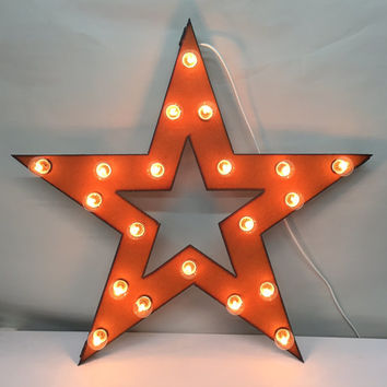 STAR with star cutout Lighted Marquee Sign made of Rusted Recycled Metal Vintage Inspired