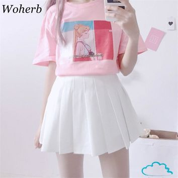 Woherb Korean Kawaii Summer T Shirts Women 2018 Harajuku Tops Print Sailor Moon Best Friends Tee Shirt Haut Femme	20165