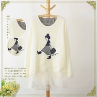 Girl Letter Embroidered Layered-Lace Sweater