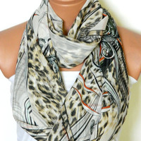 Autumn infinity Scarves,Loop Scarf,Circle Scarf,black, beige Leopard Pattern chiffon fabric Scarf,Nomad Cowl. Leopard Pattern,
