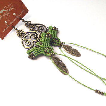 Hippie-chic green handwoven earrings feather charm long pendants boho bohemian macrame gypsy woodland elf