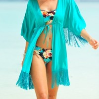 Phax Fringed Kimono in Turquoise at Coco Bay - hand picked designer women's beachwear and beach accessories. Next Day Delivery & Free UK Returns