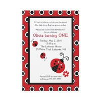 Lullabye Ladybug 5x7 Red & Black Birthday Invites from Zazzle.com