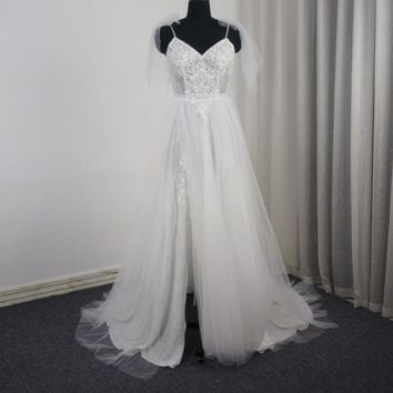 Spaghetti Strap Bow Tie Wedding Dress Luxury Beaded Lace Bridal Gown
