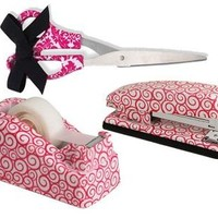 Lady Jayne Stapler, Tape Dispenser and Scissors Package Pink Swirls