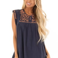 Navy and Bronze Embroidered Tunic with Keyhole Closure