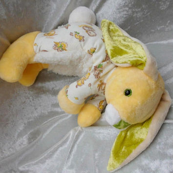PINEAPPLE BUNNY DUCKLING Chicks yellow rabbit cream decor handmade rabbit home decor eggnog ooak floppy bunny soft toy cuddly rabbit cute