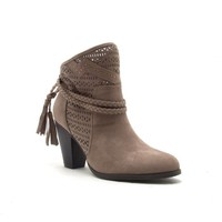 Qupid Shoes Nixon Perforated Braided Ankle Booties in Taupe NIXON-70-TAUPE
