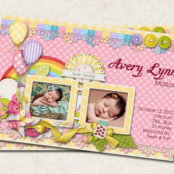 Baby Girl Birth Announcement, Thank You, Shower, floral, rainbow, balloons, how lovely, Digital File