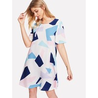 Allover Geometric Print Dress