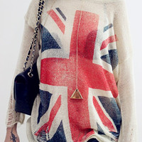 British flag loose knit sweater pullover blouse hollow BA808BD
