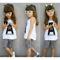 Girls 2 PC Trendy Print Shirt and Leopard Pants