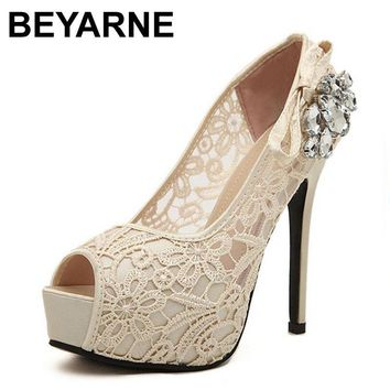 BEYARNE women shoes pumps sexy lace rhinestone mesh hollow open toe high heels ladies fashion brand nude wedding platfoem shoes