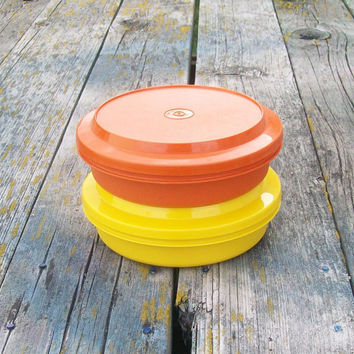 Vintage Tupperware Bowls with Lids Orange and Yellow Set of 2 Travel Dishes