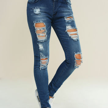 Skinny Ripped Pencil Jeans