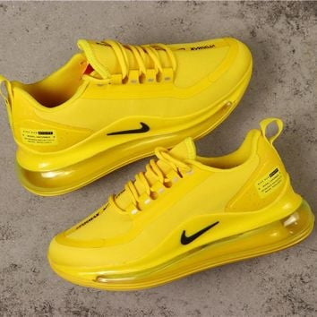 Nike Air Max 720 Yellow With Black Logo Running Shoes - Best Online Sale