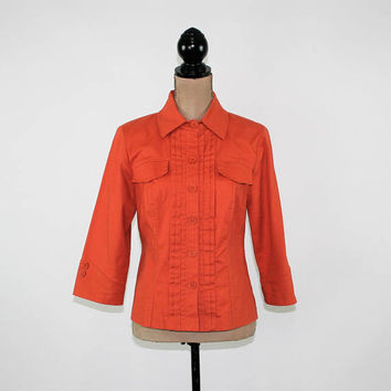 Burnt Orange Jacket Womens Medium Cotton Jacket 3/4 Sleeve Pleated Jacket Light Lightweight Fall Jacket Size 10 Jacket Womens Clothing