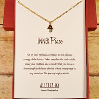 """Petite Gold Plated Hamsa Necklace with """"Inner Peace"""" Card 