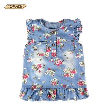 Short Sleeve Floral Pleated Baby Denim