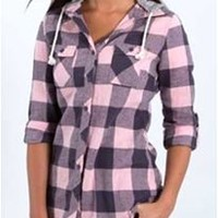 Polly and Esther Hooded Plaid Button Down Flannel PW01150
